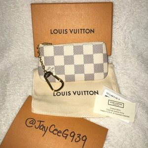 NEW Authentic Louis Vuitton Damier Azur Key Pouch